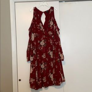 Maroon floral print, chiffon faux wrap dress
